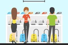 Magasin d'électro-ménagers avec des visiteurs illustration stock