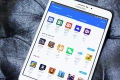 Magasin d'apps de galaxie d'Android sur l'étiquette s2 de Samsung Images libres de droits