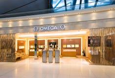 Magasin d'Omega dans l'aéroport de Suvarnabhumi, Bangkok Photos stock