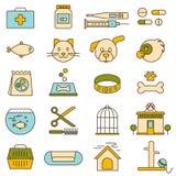 Magasin de bêtes, clinique vétérinaire, icônes Photos stock