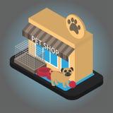 Magasin de bêtes en ligne isométrique avec l'équipement Smartphone avec le support après-vente de consultant en matière d'animal  Photographie stock