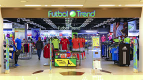Magasin de détail du football de tendance de Futbol, Hong Kong Photos stock