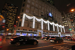 Magasin de Macy par nuit, New York, Etats-Unis Image stock