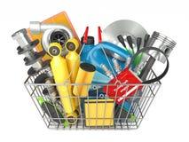 Magasin de pièces d'auto Boutique des véhicules à moteur de panier Photo stock