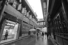 Magasin de poulet de Liaoji dans la rue antique de jinli célèbre, image noire et blanche images stock