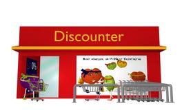 Magasin discount avec l'achat allant de coeurs du ` s de Valentine Image stock