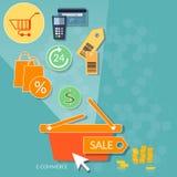 Magasin en ligne d'achats de concept d'Internet de boutique du marché en ligne de Web Photo libre de droits