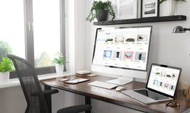 magasin en ligne de maquette sensible noire et blanche de dispositifs photos libres de droits
