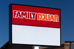 Magasin et signe du dollar de famille Photo stock