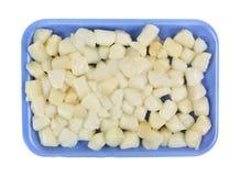 Magasin för polystyren för fjärdkammusslor blått Arkivfoto