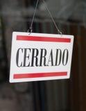 Magasin fermé d'Espagnol Photos libres de droits