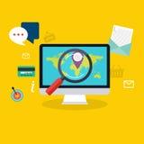 Magasin local plat de concept de construction moderne de media social lançant le VE sur le marché illustration libre de droits