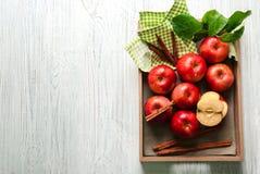 Magasin med äpplen och kanelbruna pinnar Arkivbilder