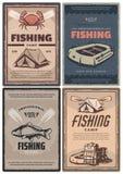 Magasin professionnel de pêche et affiches de camp rétros illustration stock