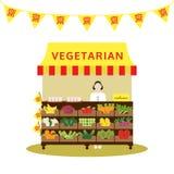Magasin végétarien chinois avec le légume et le fruit, vecteur de nourriture Images stock