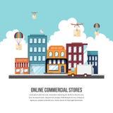 Magasins commerciaux en ligne Image stock