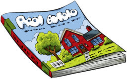 Magazine. A cartoon real estate magazine with house on the cover Royalty Free Stock Photo