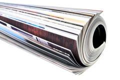 Magazine. Rolled magazine isolated on white Royalty Free Stock Photos