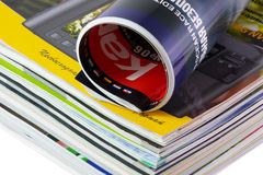 Magazine. Large stack of different magazines, and a folded Royalty Free Stock Photo