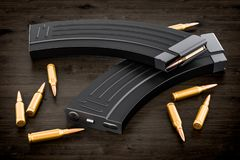 Magazine from assault rifle and bullets on the wooden table, 3D vector illustration