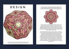 Magazine with beige mandala. Realistic brochure burgundy mandala Stock Photos