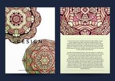 Magazine with beige mandala. Realistic brochure burgundy mandala Royalty Free Stock Photography