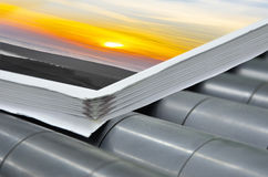 Magazine binding process after offset print Royalty Free Stock Images