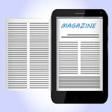 Magazine on Black Smartphone Stock Images
