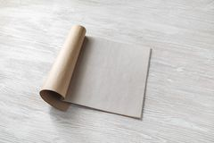 Magazine or booklet. Blank magazine pages or booklet on wooden table background stock images