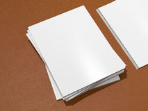 Magazine cover with blank white page mockup on leather substrate Royalty Free Stock Image