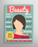 Magazine cover template about beauty, fashion and health for women. Vector illustration. Stock Photo