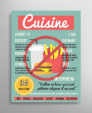 Magazine cover template. Food blogging layer, culinary cuisine  illustration. Royalty Free Stock Photo