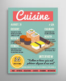 Magazine cover template. Food blogging layer, culinary cuisine  illustration. Royalty Free Stock Image