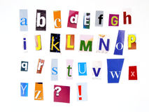 Magazine cuttings. Alphabet made of newspaper clippings - colorful ABC Royalty Free Stock Photography