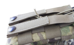 Magazine pouch attachment point. Strap and metal clasps used to attach a Ar-15 magazine pouch to webbing Stock Photo