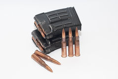 Magazine with 7.62 x 54R bullets for SVD (Dragunov). Two magazines with 7.62 x 54R bullets for SVD (Dragunov Stock Image