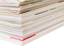 Magazine stack. Stack of magazines isolated on a white background Royalty Free Stock Photo