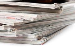 Magazine stack. On white background Stock Photo
