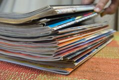 Magazine stack Stock Photos