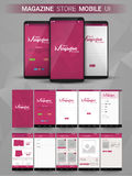 Magazine Store Mobile UI, UX and GUI layput. Royalty Free Stock Images
