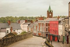 Magazine Street. Derry Londonderry. Northern Ireland. United Kingdom. Magazine Street and Guildhall clock tower. Derry Londonderry. Northern Ireland. United Royalty Free Stock Photo