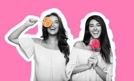 Magazine style collage of two young women having fun with lollipops royalty free stock image