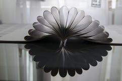 Magazine vide de brochure sur le verre foncé fleurissant comme la fleur photographie stock libre de droits