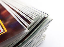 Magazines. Stack of magazines, low angle closeup Royalty Free Stock Image