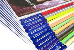 Magazines. Collection close up in a variety of colors royalty free stock photo