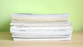 Magazines. Some magazines with green background Royalty Free Stock Photography