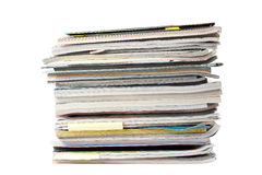Magazines. A stack of magazines over a white background Stock Photo