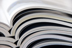 Magazines. A stack of open magazines Stock Photo
