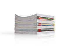 Magazines. Stack magazines on white background stock image