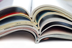 Magazines. A stack of open magazines Royalty Free Stock Images